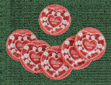 Предмет сервировки «Набор бумажных тарелок Люблю тебя (6 шт.), 18 см»